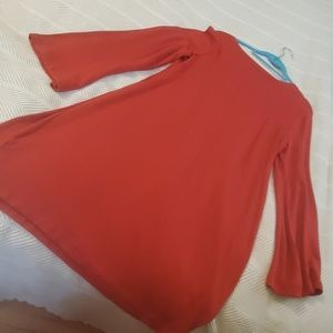 Lou & Grey midi red dress with bell sleeves.